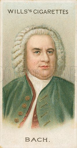 Bach. Illustration for Wills's Musical Celebrities cigarette card series (early 20th century).