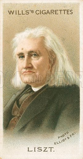 Liszt. Illustration for Wills's Musical Celebrities cigarette card series (early 20th century).