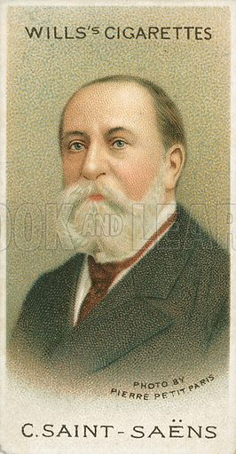 C. Saint-Saens. Illustration for Wills's Musical Celebrities cigarette card series (early 20th century).