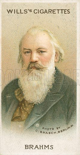 Brahms. Illustration for Wills's Musical Celebrities cigarette card series (early 20th century).