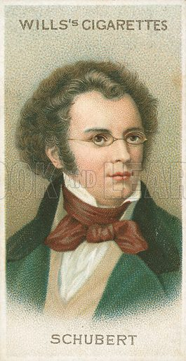 Schubert. Illustration for Wills's Musical Celebrities cigarette card series (early 20th century).