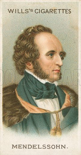 Mendelssohn. Illustration for Wills's Musical Celebrities cigarette card series (early 20th century).