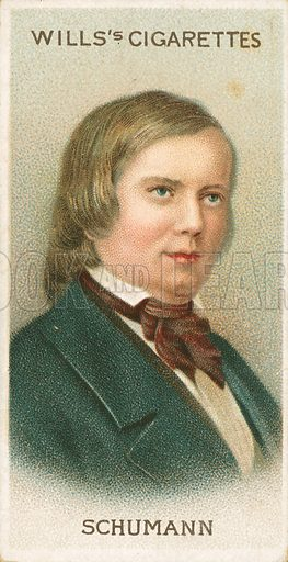 Schumann. Illustration for Wills's Musical Celebrities cigarette card series (early 20th century).