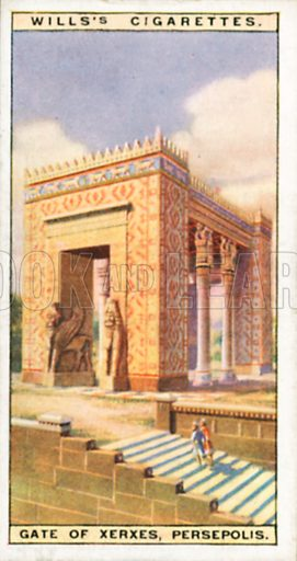Gate of Xerxes, Persepolis. Illustration for Wills's Wonders of the Past cigarette card series (early 20th century).