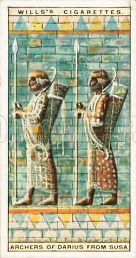 Archers of Darius from Susa. Illustration for Wills's Wonders of the Past cigarette card series (early 20th century).