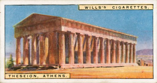 Theseion, Athens. Illustration for Wills's Wonders of the Past cigarette card series (early 20th century).