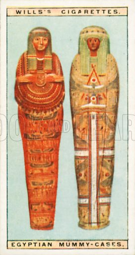 Egyptian Mummy-Cases. Illustration for Wills's Wonders of the Past cigarette card series (early 20th century).