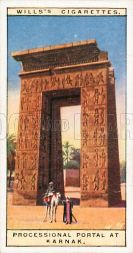 Processional Portal of Karnak. Illustration for Wills's Wonders of the Past cigarette card series (early 20th century).
