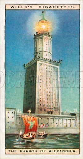 The Pharos of Alexandria. Illustration for Wills's Wonders of the Past cigarette card series (early 20th century).