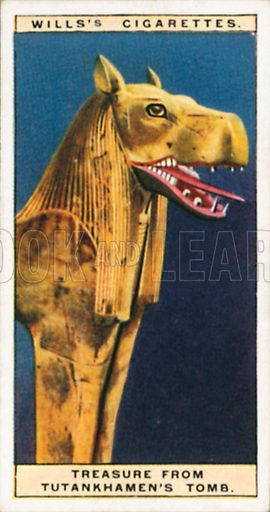 Treasure from Tutankhamen's Tomb. Illustration for Wills's Wonders of the Past cigarette card series (early 20th century).