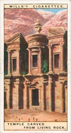 Temple Carved from Living Rock. Illustration for Wills's Wonders of the Past cigarette card series (early 20th century).