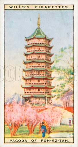 Pagoda of Poh-Sz-Tah. Illustration for Wills's Wonders of the Past cigarette card series (early 20th century).