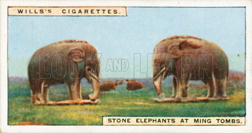 Stone Elephants at Ming Tombs. Illustration for Wills's Wonders of the Past cigarette card series (early 20th century).