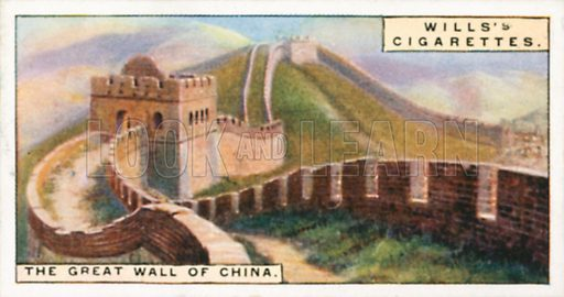 The Great Wall of China. Illustration for Wills's Wonders of the Past cigarette card series (early 20th century).
