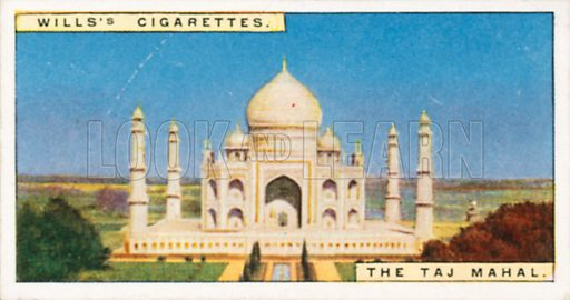 The Tej Mahal. Illustration for Wills's Wonders of the Past cigarette card series (early 20th century).