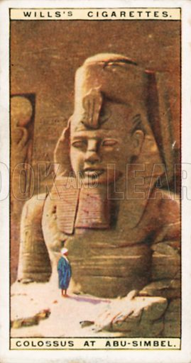 Colossus at Abu-Simbel. Illustration for Wills's Wonders of the Past cigarette card series (early 20th century).