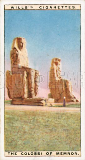 The Colossi of Memnon. Illustration for Wills's Wonders of the Past cigarette card series (early 20th century).