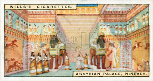 Assyrian Palace, Nineveh. Illustration for Wills's Wonders of the Past cigarette card series (early 20th century).