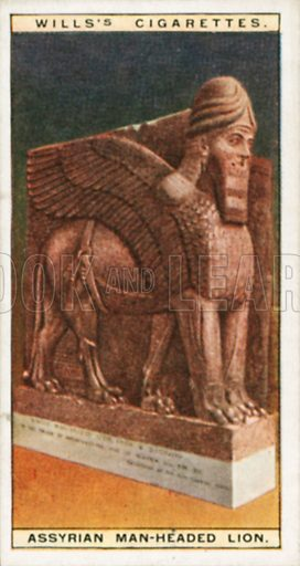 Assyrian Man-Headed Lion. Illustration for Wills's Wonders of the Past cigarette card series (early 20th century).