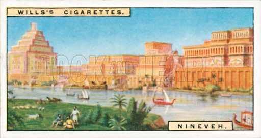 Nineveh. Illustration for Wills's Wonders of the Past cigarette card series (early 20th century).