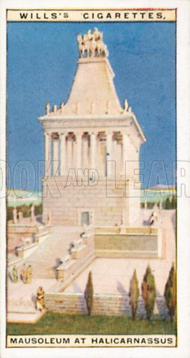 Mausoleum at Halicarnassus. Illustration for Wills's Wonders of the Past cigarette card series (early 20th century).