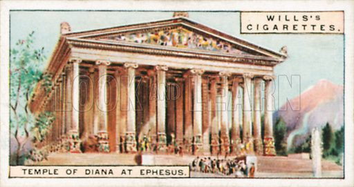 Temple of Diana at Ephesus. Illustration for Wills's Wonders of the Past cigarette card series (early 20th century).