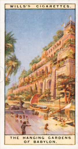 The Hanging Gardens of Babylon. Illustration for Wills's Wonders of the Past cigarette card series (early 20th century).