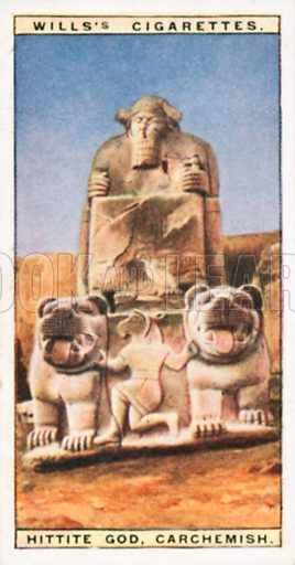 Hittite God, Carchemish. Illustration for Wills's Wonders of the Past cigarette card series (early 20th century).