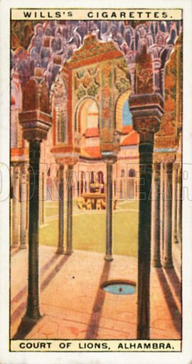 Court of Lions, Alhambra. Illustration for Wills's Wonders of the Past cigarette card series (early 20th century).