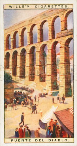 Puente del Diablo. Illustration for Wills's Wonders of the Past cigarette card series (early 20th century).