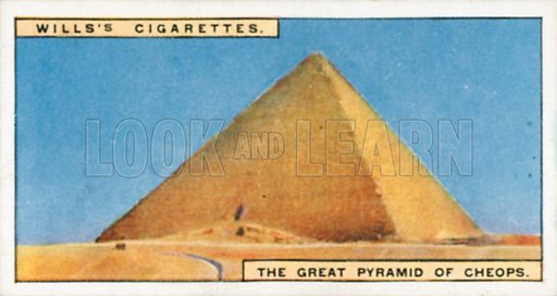 The Great Pyramid of Cheops. Illustration for Wills's Wonders of the Past cigarette card series (early 20th century).