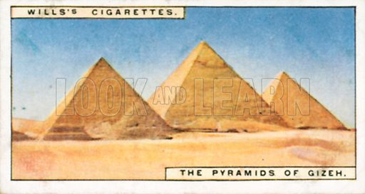 The Pyramids of Gizeh. Illustration for Wills's Wonders of the Past cigarette card series (early 20th century).