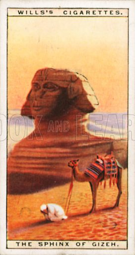 The Sphinx of Gizeh. Illustration for Wills's Wonders of the Past cigarette card series (early 20th century).