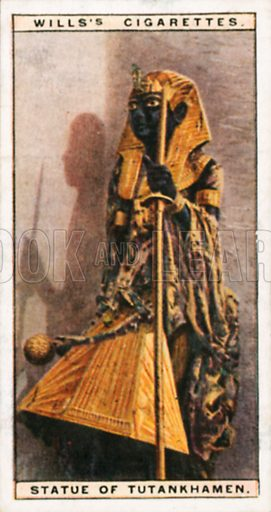 Statue of Tutankhamen. Illustration for Wills's Wonders of the Past cigarette card series (early 20th century).