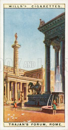 Trajan's Forum, Rome. Illustration for Wills's Wonders of the Past cigarette card series (early 20th century).