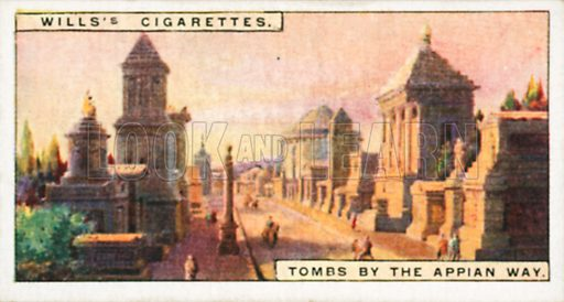 Tombs by the Appian Way. Illustration for Wills's Wonders of the Past cigarette card series (early 20th century).