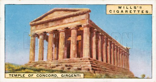 Temple of Concord, Girgenti. Illustration for Wills's Wonders of the Past cigarette card series (early 20th century).