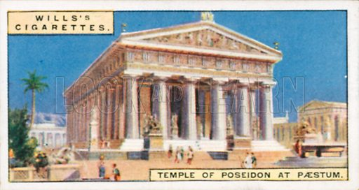 Temple of Poseidon at Paestum. Illustration for Wills's Wonders of the Past cigarette card series (early 20th century).