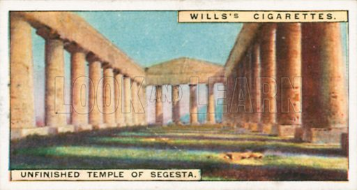 Unfinished Temple of Segesta. Illustration for Wills's Wonders of the Past cigarette card series (early 20th century).