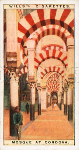 Mosque at Cordova. Illustration for Wills's Wonders of the Past cigarette card series (early 20th century).