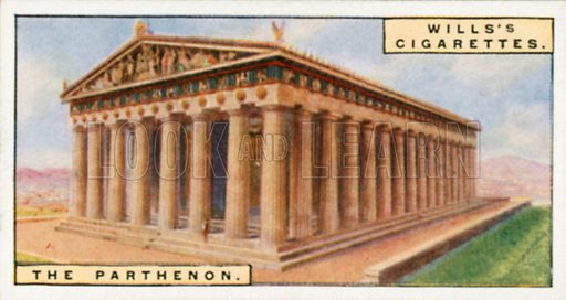 The Parthenon. Illustration for Wills's Wonders of the Past cigarette card series (early 20th century).