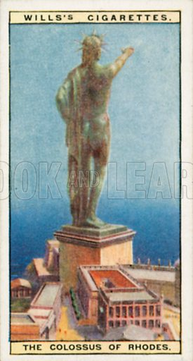 The Colossus of Rhodes. Illustration for Wills's Wonders of the Past cigarette card series (early 20th century).