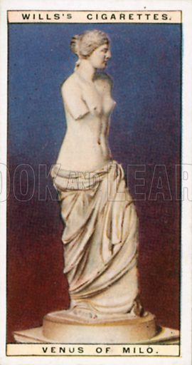 Venus of Milo. Illustration for Wills's Wonders of the Past cigarette card series (early 20th century).