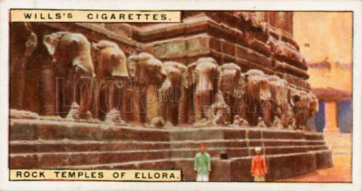 Rock Temples of Ellora. Illustration for Wills's Wonders of the Past cigarette card series (early 20th century).