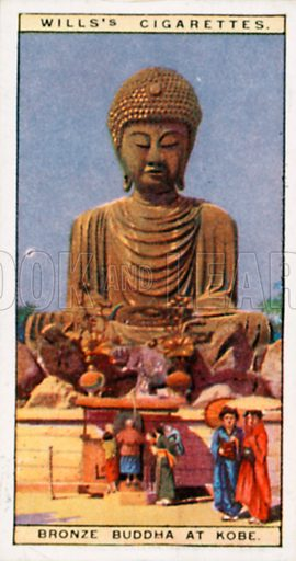 Bronze Buddha at Kobe. Illustration for Wills's Wonders of the Past cigarette card series (early 20th century).
