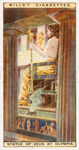 Statue of Zeus at Olympia. Illustration for Wills's Wonders of the Past cigarette card series (early 20th century).