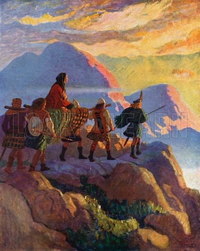 Helen Descends the Glen of Stones. Illustration for The Scottish Chiefs by Jane Porter (Hodder and Stoughton, 1921).