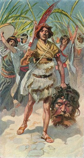David takes the Head of Goliath to Jerusalem. Illustration for The Old Testament – Part II(Brunoff, 1904).
