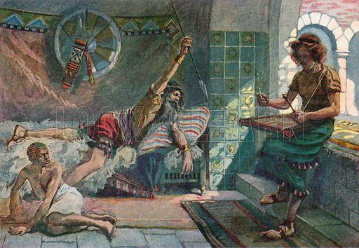 Saul Endeavours to Pierce David. Illustration for The Old Testament - Part II (Brunoff, 1904).