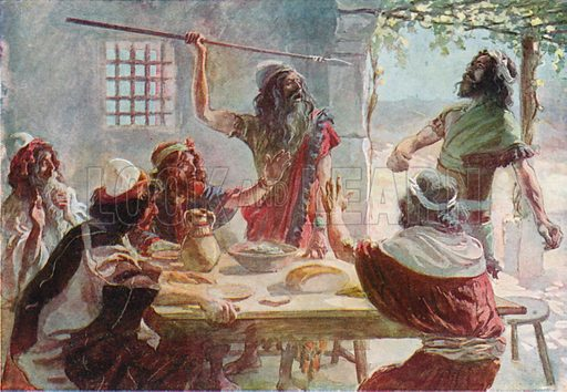 Saul Casts a Javelin at Jonathan. Illustration for The Old Testament - Part II (Brunoff, 1904).